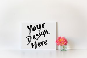 White Frame Mockup Stock Photo