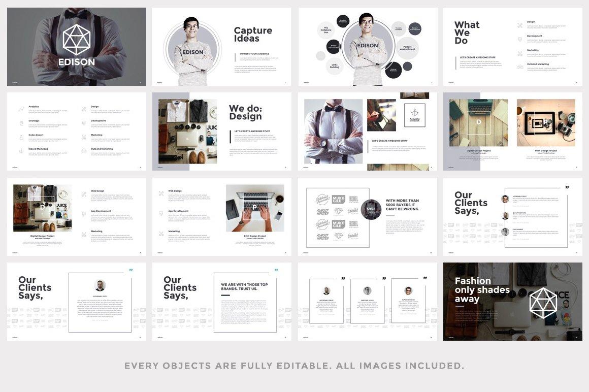 edison minimal keynote template presentation templates creative market. Black Bedroom Furniture Sets. Home Design Ideas