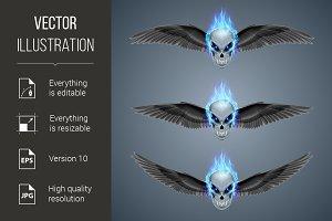 Flaming mutant skulls