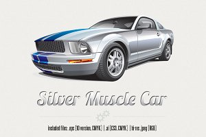 Silver Muscle Car
