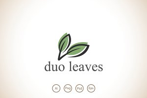 Duo Leaves Logo Template