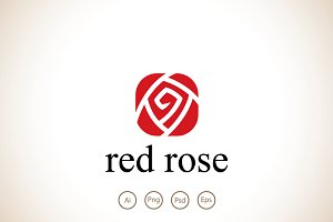 Red Rose Logo Template