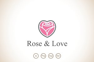 Rose and Love Logo Template