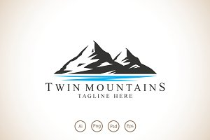 Twin Mountains Logo Template