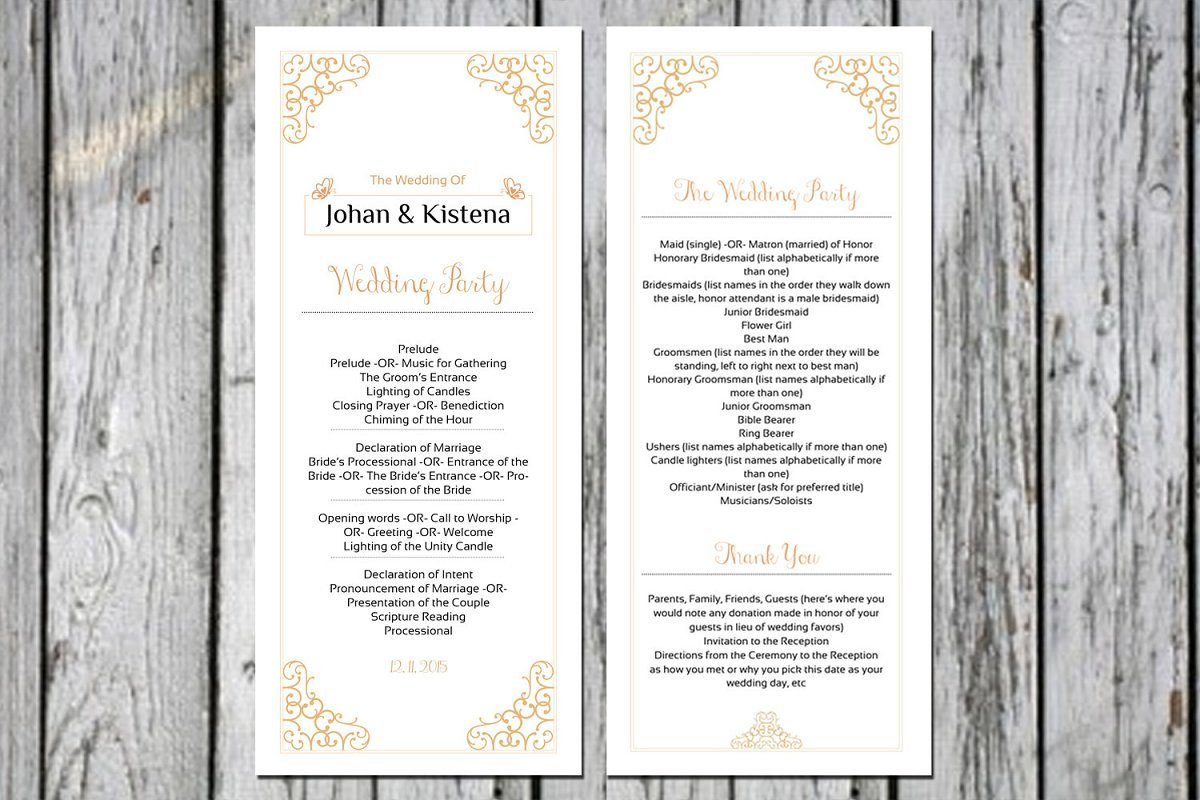 Wedding Ceremony Program Template ~ Wedding Templates ~ Creative Market