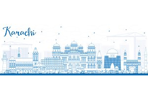 Outline Karachi Skyline