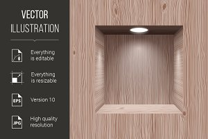 Wooden niche for presentation