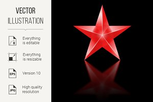 Red star on black background
