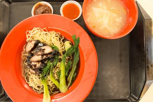 Pork noodles red plate