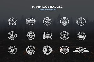 15 Vintage Templates, Badges, Logos