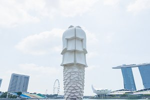 Singapore center with Merlion