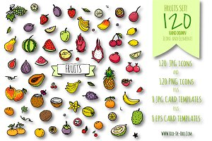 120 hand drawn icons FRUITS set