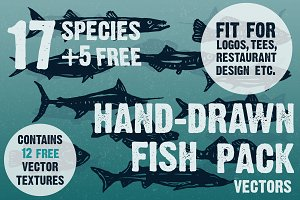 Hand-drawn fish vectors