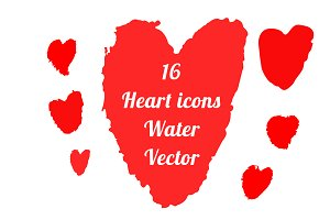 Hearts 16 icons Vector