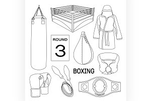 Boxing vector design elements.