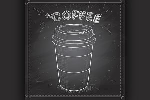 Coffee to go scetch on a black board