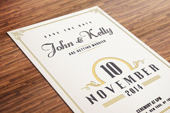 Wedding Invitation Postcards Templates: Vintage Wedding Invitation Postcard