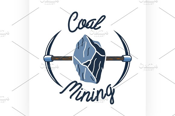 Color vintage coal mining emblem