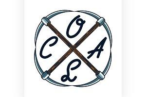 Color vintage coal mining emblem