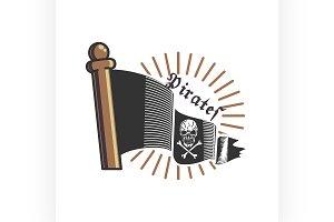 Color vintage pirate emblem