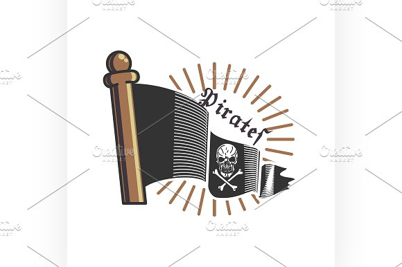 Color vintage pirate emblem