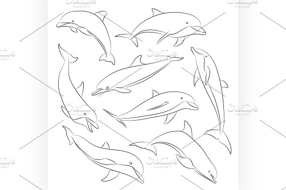Vector hand drawn set of dolphins in Illustrations