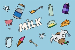 Milk vector icons set