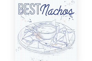 Nachos recipe on a notebook page