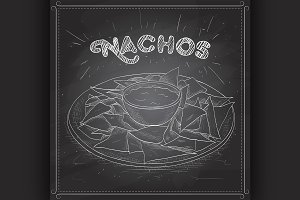 Nachos scetch on a black board