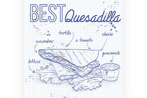 Quesadilla recipe on a notebook page