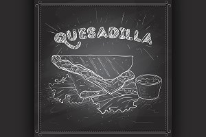 Quesadilla scetch on a black board