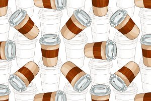 Seamless pattern coffee to go