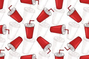 Seamless pattern cola cup scetch