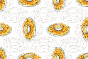 Seamless pattern nachos scetch