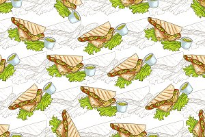 Seamless pattern color quesadilla