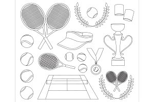 Tennis set icons