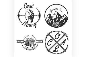Vintage coal mining emblems