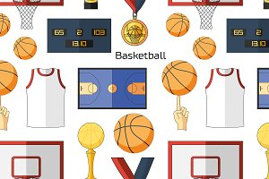 Basketball icons pattern