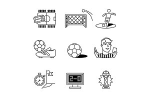 Soccer game signs set