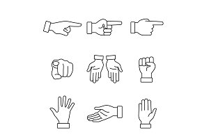 Hand gestures signs set