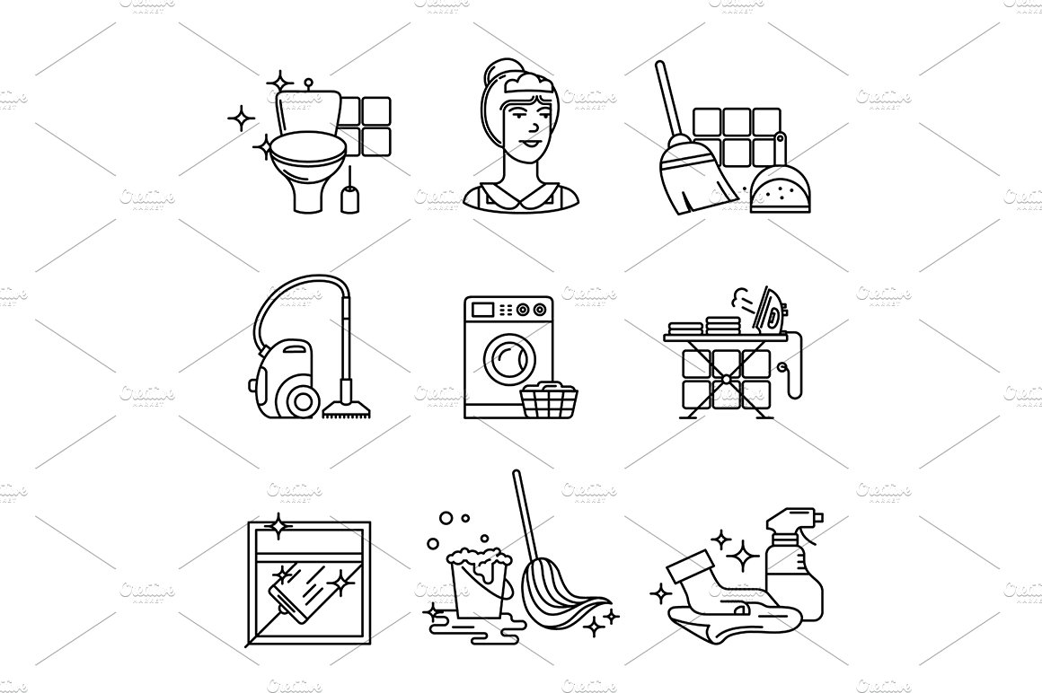 Home cleaning, washing and tidying ~ Icons ~ Creative Market