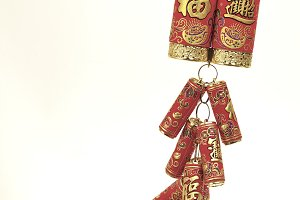 Chinese New Year Decoration,Fire Crackers on White with Copy Space