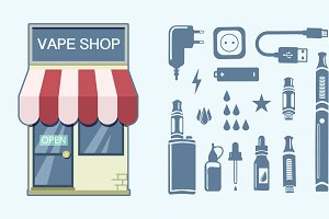 Vape shop. Vape icon. Vector icons