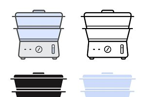 Electric steamer icons. Vector