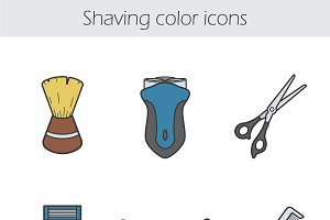 Shaving color icons set. Vector