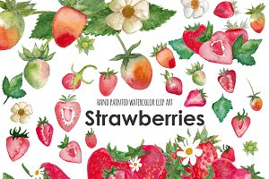 Strawberry watercolor clip art