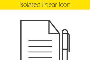 Contract linear icon. Vector