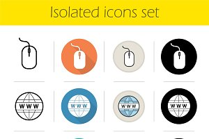 Online shopping icons set. Vector