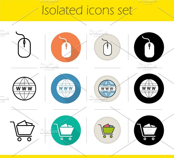 Online shopping icons set. Vector - Icons