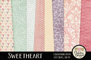 Shabby Damask & Hearts Textures
